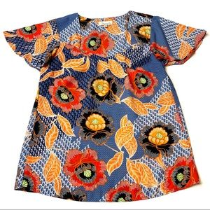 Chenault Ethnic Floral Print Butterfly Sleeve Top